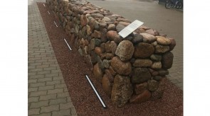 Symbolic stone wall at IKEA Industry Lithuania furniture factory