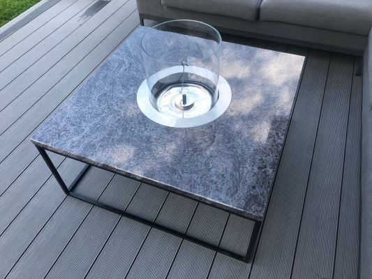 Granite countertop coffee table with built-in biofireplace