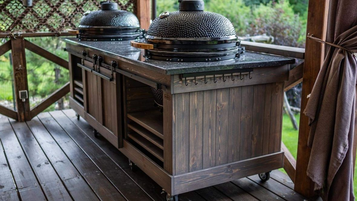 Countertops for barbecue tables Kamado BONO from Blue perl granite